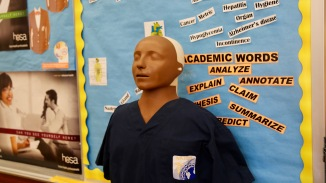Ms. Wilkes joked that this medical dummy was an old CNA student.