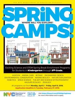 The STEM Matters NYC 2018 Spring Break Camp Will Run from 4/2–4/6/18.