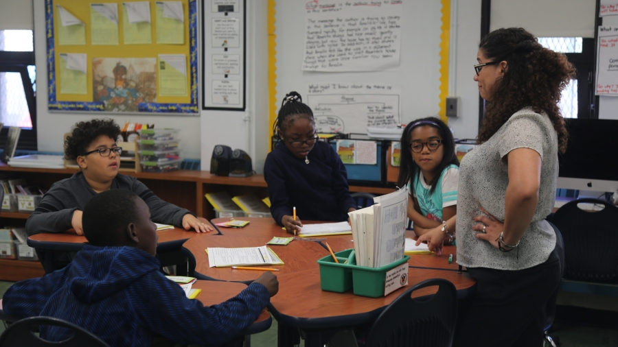 CVES Students Work in Small Groups to Answer Teachers' Questions